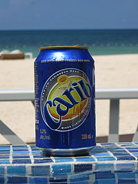 Carib Lager at the infinity edge of the pool